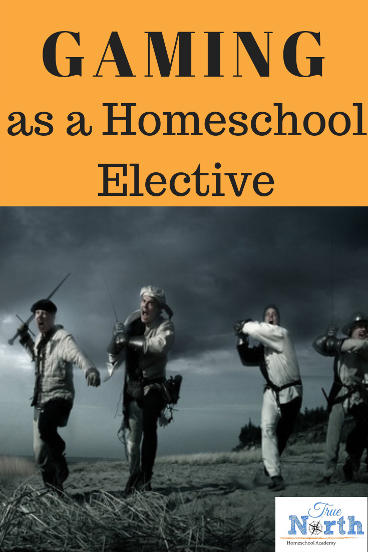 Do you use gaming as a homeschool elective? It's a great way to cover multiple subjects while also tailoring learning to our child's interest. Check out these tips and ideas for using gaming as a homeschool elective. #homeschooling #electives #TrueNorthHomeschoolAcademy #Gaming