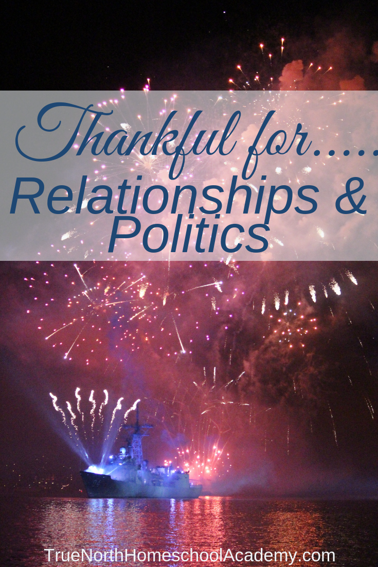 Are you a thankful homeschool parent? One of the best things about homeschooling is the ability to study politics together as a family. #homeschooling #politics #TrueNorthHomeschoolAcademy