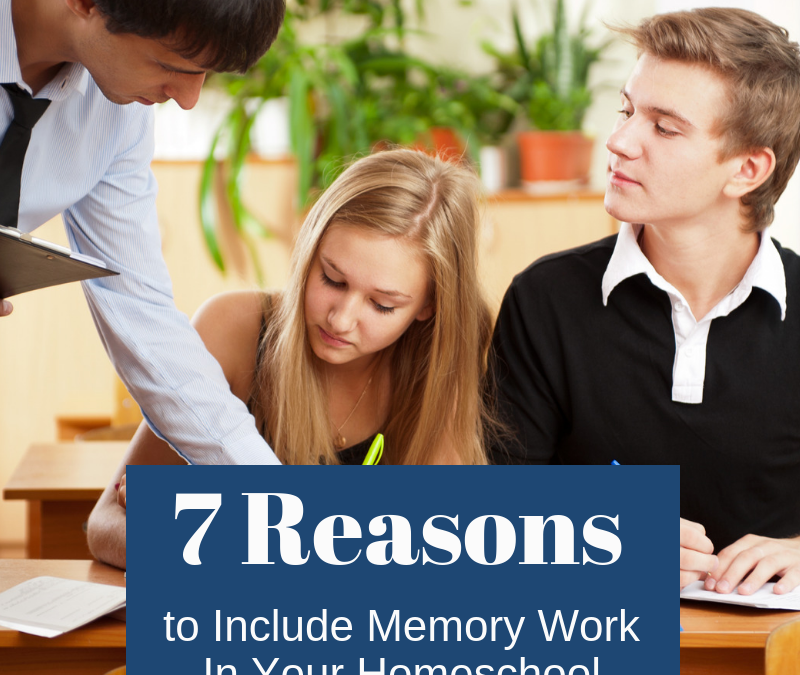 """Group of students studying with text """"7 Reasons to Include Memory Work in Your Homeschool"""""""