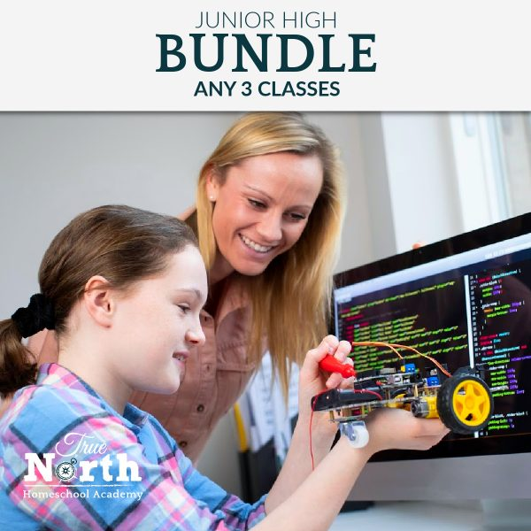 Tween girl learns online with robotics. Purchase any three True North Classes like this one and save money with the bundle price.