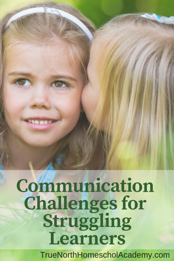 Are you facing communication challenges with your struggling learner?  Often special needs children have difficulty communicating with those around them.  See True North Homeschool Academy Instructor Amy Vickery's top tips for helping your struggling learner communicate.  #strugglinglearner #specialneeds #homeschool #homeschooling #TrueNorthHomeschoolAcademy