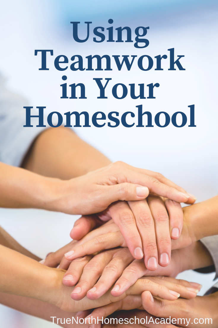 How important is teamwork in your homeschool? Teamwork is the glue that holds a successful homeschool together, especially for us busy working moms! Come see our tips for using teamwork in your homeschool! #homeschool #homeschooling #TrueNorthHomeschoolAcademy #teamwork