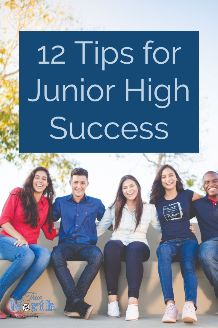 Are you about to head into those scary junior high years in your homeschool? Never fear, True North Homeschool Academy has all the tips for junior high success. Check them out now! #juniorhightips #TrueNorthHomeschoolAcademy #homeschooling #homeschool