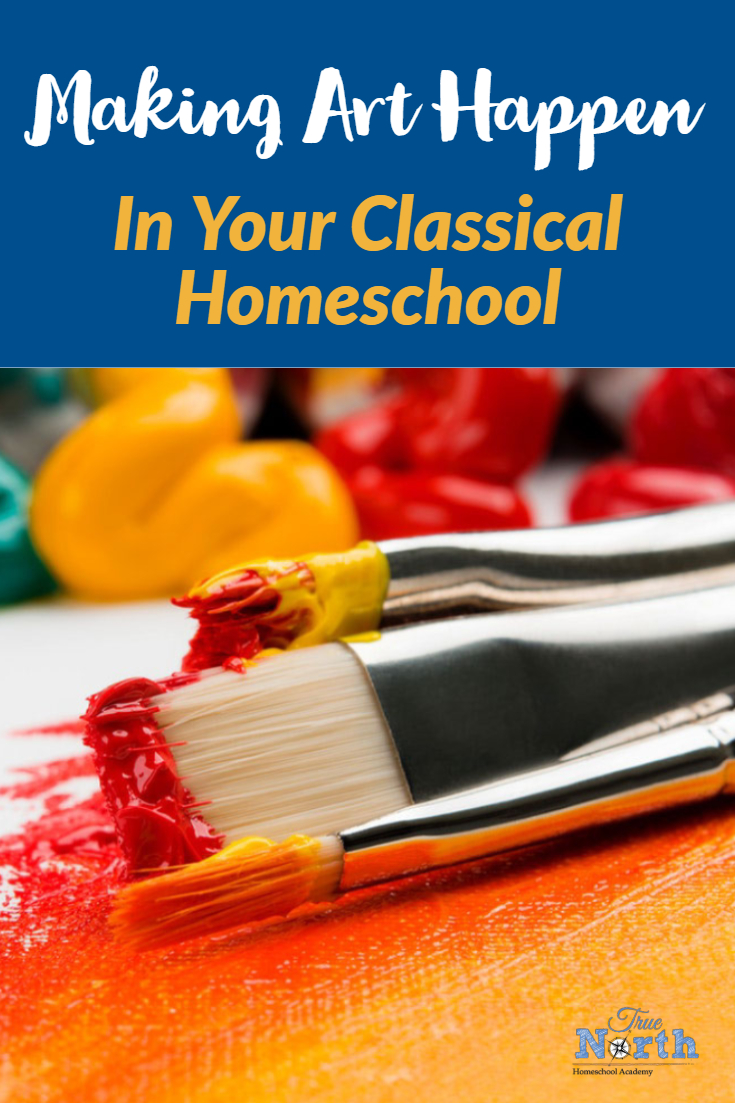 Are you neglecting to add art into your classical homeschool? Sometimes as busy homeschool moms, we often overlook art. Let's face it, many times it's simply one more thing in our already overwhelming day. However, art doesn't have to be overwhelming. Check out this guest post for some great ideas on why, and how, you make art happen in your classical homeschool. #TrueNorthHomeschoolAcademy #Art #ClassicalHomeschool #Homeschooling