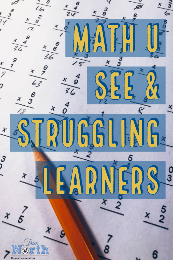 Are you struggling to find a math curriculum for your struggling learner?  As a homeschool mom, math is often one of the biggest challenges and this is especially true for a special needs student.  Find out why we think Math U See is  a great curriculum for struggling learners.  #TrueNorthHomeschoolAcademy  #homeschoolmath #strugglinglearners