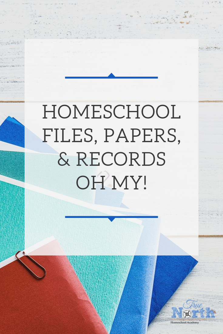 Are you overwhelmed with the amount of papers attached to your homeschool? Check out this great post to help tackle your homeschool files today! #truenorthhomeschoolacademy #homeschoolfiles #homeschoolorganization