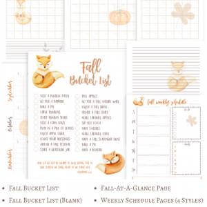 Image shows printable pack for fall planning,