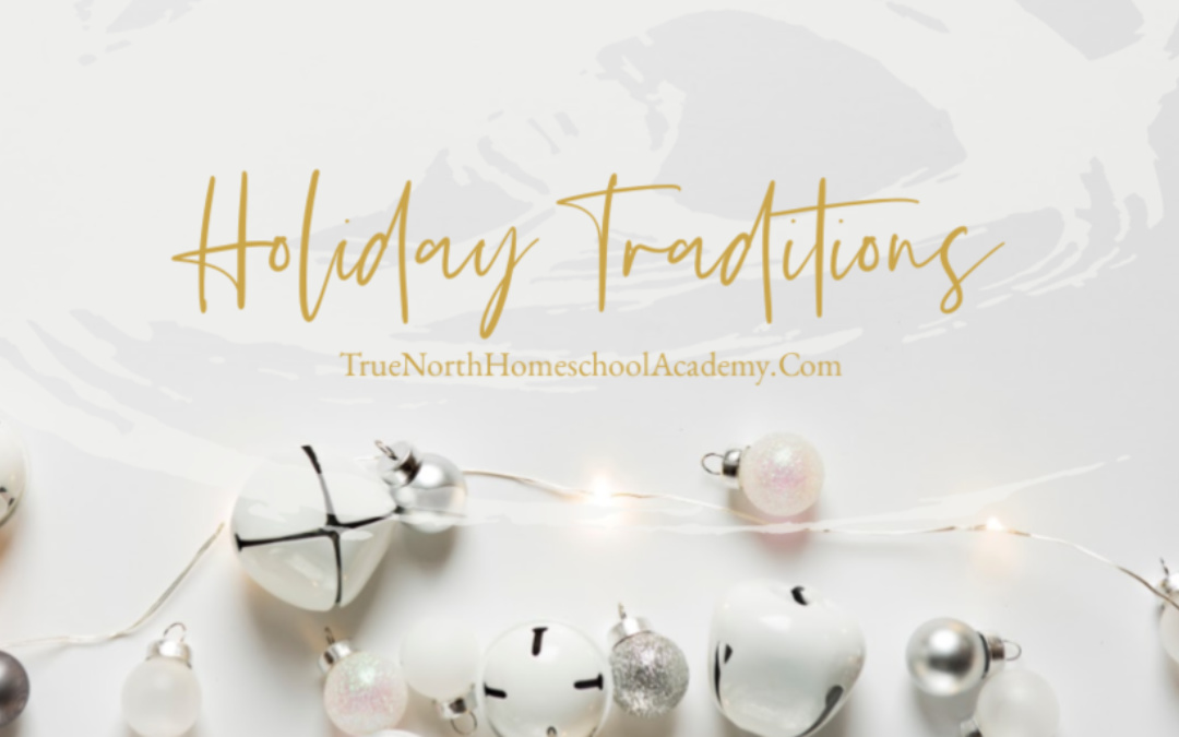 The Words Holiday Traditions on a white background with Christmas lights , bells, decorations