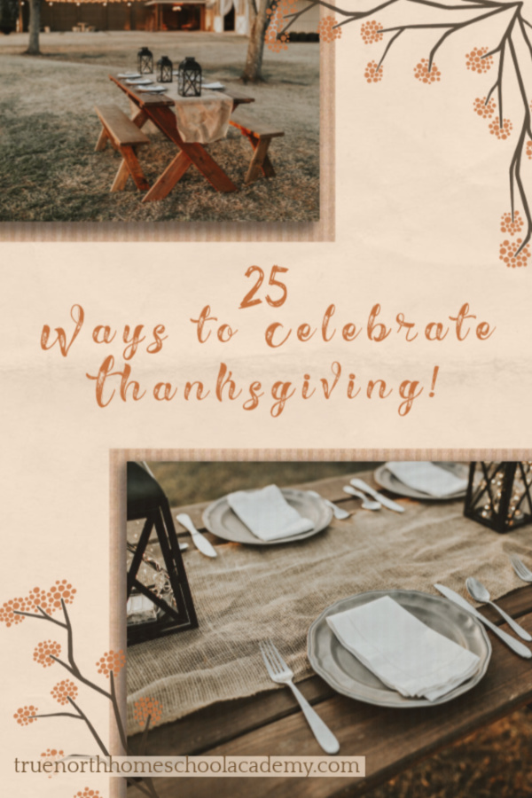Pinterest image depicts an outdoor thanksgiving table with lanterns and burlap table runner.