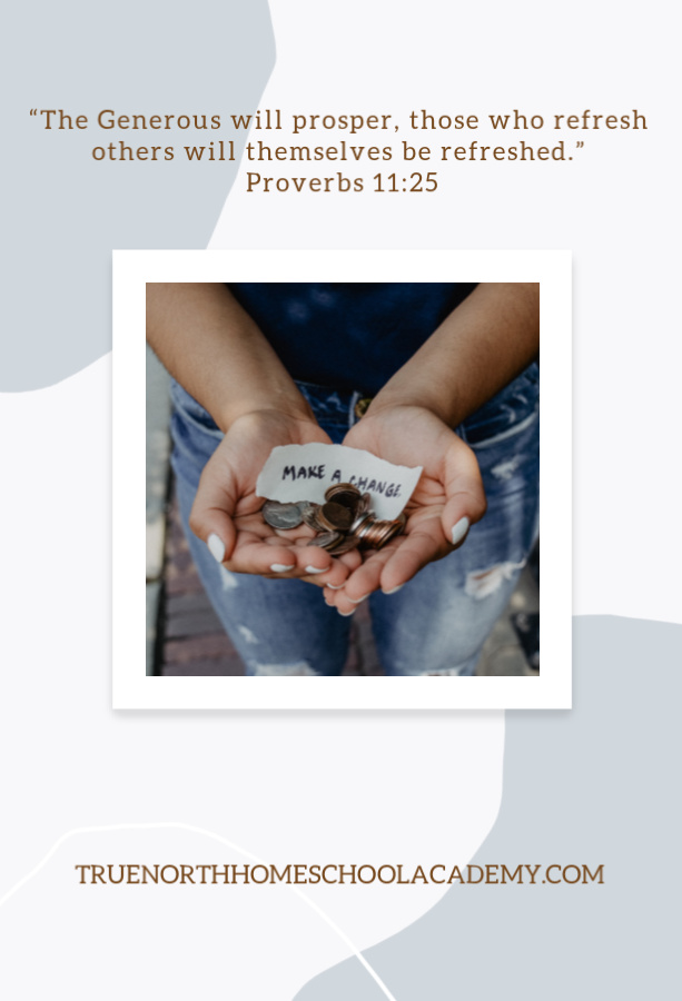 Young woman's hands holding money and a quote that says make a change- Pinterest version with Bible Verse Proverbs 11 25