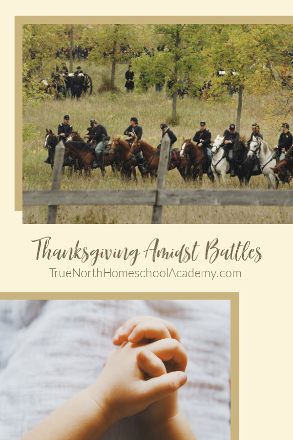 Civil war era soldiers in a filed on horses and a child's hands clasped in prayer. The history of Thanksgiving Day.
