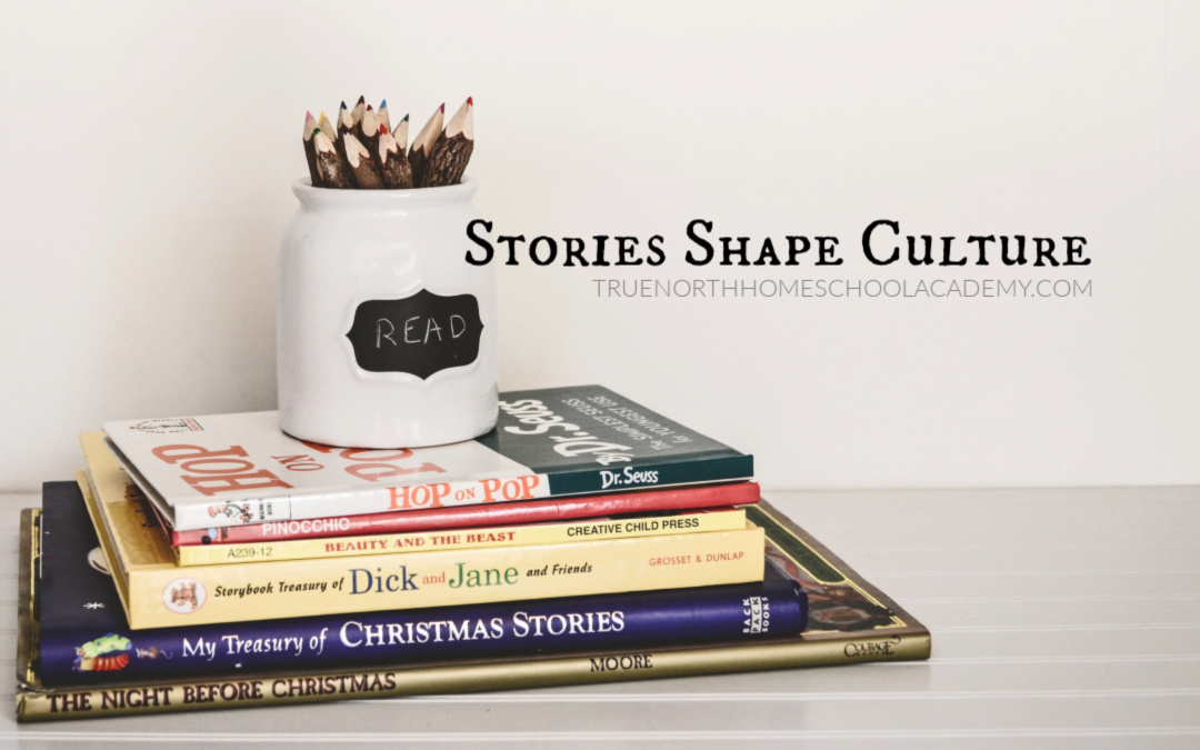 Stories that shape culture - A stack of books including Christmas books for homeschool read alouds