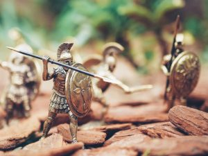 The Romans battle as a team showing the productivity of working together and the resulting victory.