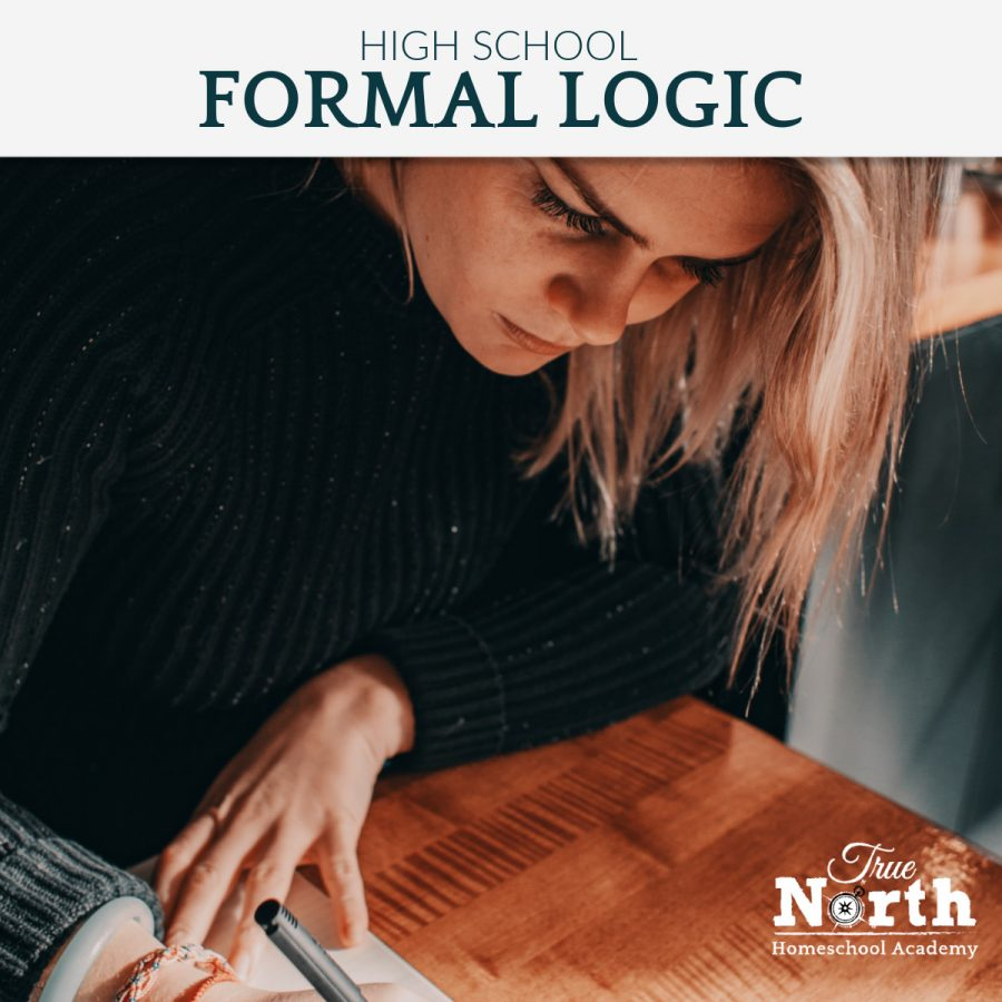 Online live classes for high school students of True North Homeschool Academy - formal logic online class- blonde teen reading and writing.