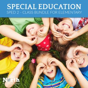 Online live classes teacher for elementary students of True North - special education bundle- kids outside making faces