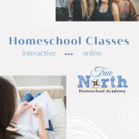 Pinable image for True North Homeschool Academy Online interactive classes.
