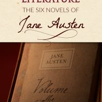 Book by Jane Austen with a red and brown cover