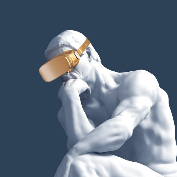 Th Thinker Statue wears virtual reality goggles.